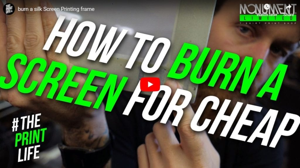 how to burn a screen printing frame
