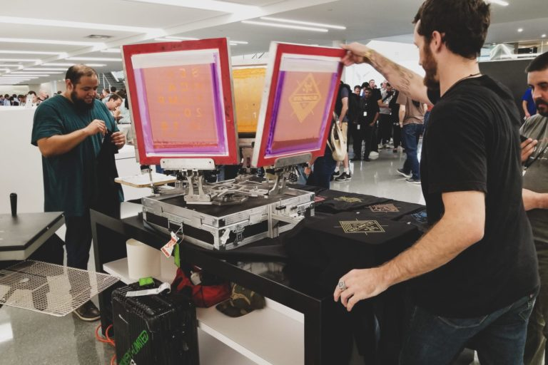 live printing at a corporate party