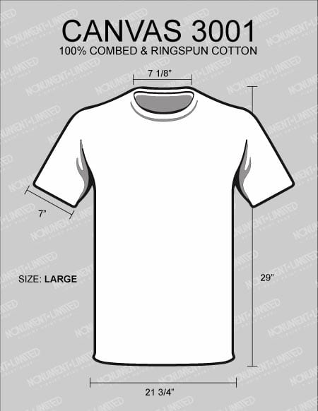 what is the best t shirt for printing canvas-3001-dimensions