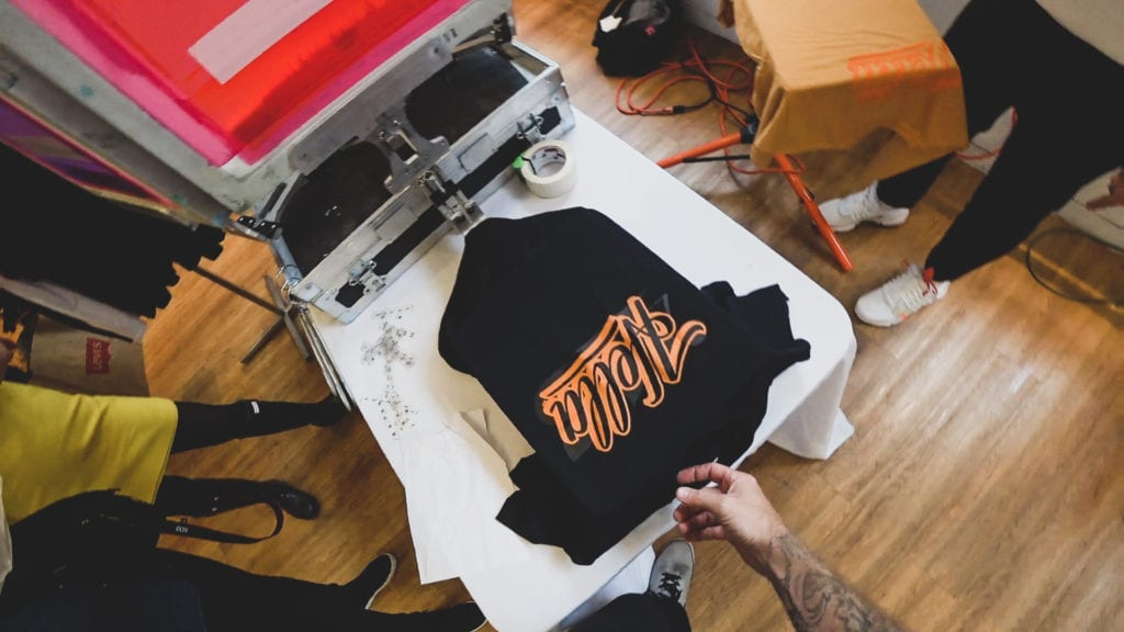 live screen printing activation for trade show events