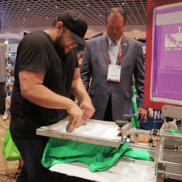 live screen printing activations for trade show booths