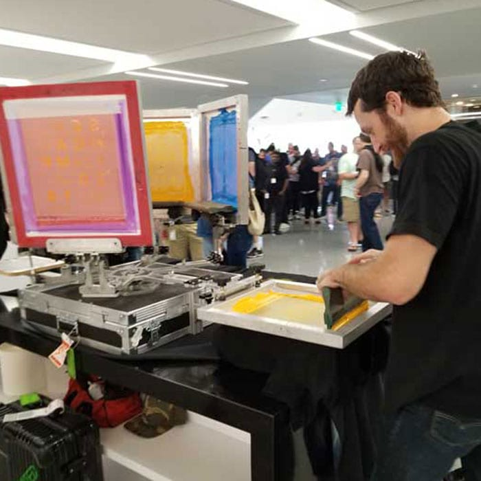 live screen printing in austiin with monument limited