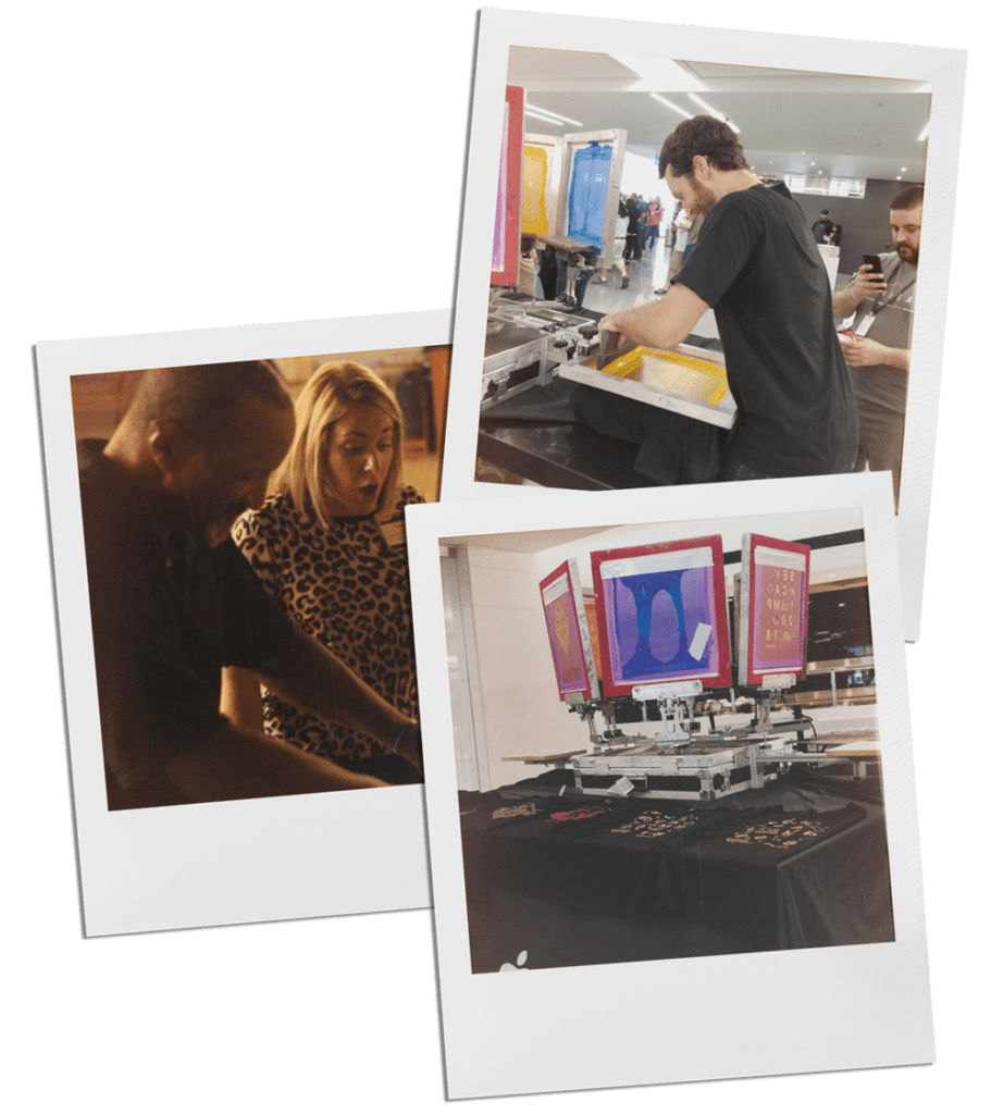live screen printing photos